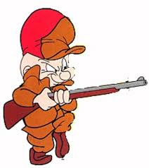 Elmer J. Fudd pictured with his infamous assault shot gun.